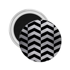 Chevron2 Black Marble & Silver Brushed Metal 2 25  Magnet by trendistuff