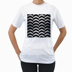 Chevron2 Black Marble & Silver Brushed Metal Women s T Shirt (white) (two Sided) by trendistuff