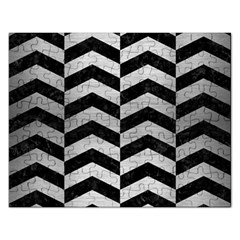 Chevron2 Black Marble & Silver Brushed Metal Jigsaw Puzzle (rectangular) by trendistuff