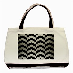Chevron2 Black Marble & Silver Brushed Metal Basic Tote Bag (two Sides) by trendistuff