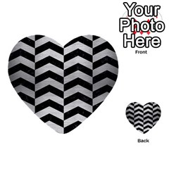 Chevron2 Black Marble & Silver Brushed Metal Multi Purpose Cards (heart) by trendistuff