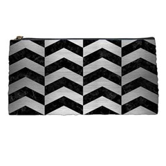 Chevron2 Black Marble & Silver Brushed Metal Pencil Case by trendistuff