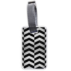Chevron2 Black Marble & Silver Brushed Metal Luggage Tag (two Sides) by trendistuff