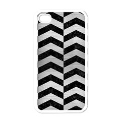 Chevron2 Black Marble & Silver Brushed Metal Apple Iphone 4 Case (white) by trendistuff