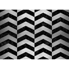 Chevron2 Black Marble & Silver Brushed Metal Birthday Cake 3d Greeting Card (7x5) by trendistuff