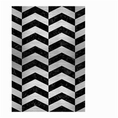 Chevron2 Black Marble & Silver Brushed Metal Small Garden Flag (two Sides) by trendistuff