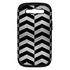 Chevron2 Black Marble & Silver Brushed Metal Samsung Galaxy S Iii Hardshell Case (pc+silicone) by trendistuff