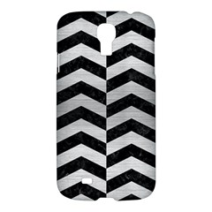 Chevron2 Black Marble & Silver Brushed Metal Samsung Galaxy S4 I9500/i9505 Hardshell Case by trendistuff