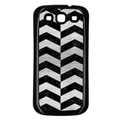 Chevron2 Black Marble & Silver Brushed Metal Samsung Galaxy S3 Back Case (black) by trendistuff