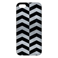Chevron2 Black Marble & Silver Brushed Metal Iphone 5s/ Se Premium Hardshell Case by trendistuff