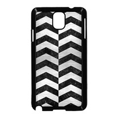 Chevron2 Black Marble & Silver Brushed Metal Samsung Galaxy Note 3 Neo Hardshell Case (black) by trendistuff