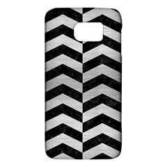 Chevron2 Black Marble & Silver Brushed Metal Samsung Galaxy S6 Hardshell Case  by trendistuff