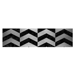 Chevron2 Black Marble & Silver Brushed Metal Satin Scarf (oblong)