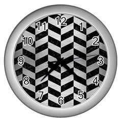 Chevron1 Black Marble & Silver Brushed Metal Wall Clock (silver) by trendistuff