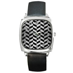 Chevron1 Black Marble & Silver Brushed Metal Square Metal Watch by trendistuff