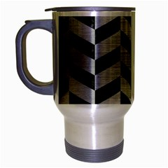Chevron1 Black Marble & Silver Brushed Metal Travel Mug (silver Gray) by trendistuff