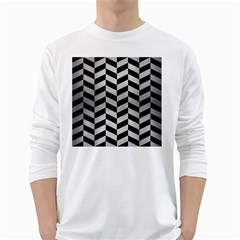 Chevron1 Black Marble & Silver Brushed Metal Long Sleeve T Shirt by trendistuff