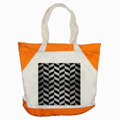 Chevron1 Black Marble & Silver Brushed Metal Accent Tote Bag by trendistuff