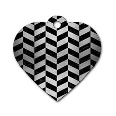 Chevron1 Black Marble & Silver Brushed Metal Dog Tag Heart (two Sides) by trendistuff