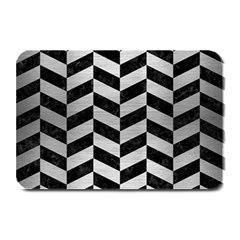 Chevron1 Black Marble & Silver Brushed Metal Plate Mat by trendistuff