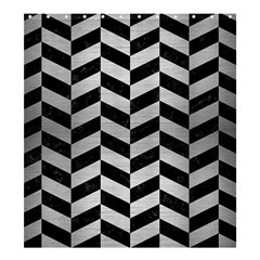 Chevron1 Black Marble & Silver Brushed Metal Shower Curtain 66  X 72  (large) by trendistuff