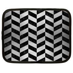 Chevron1 Black Marble & Silver Brushed Metal Netbook Case (xxl) by trendistuff