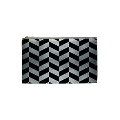 Chevron1 Black Marble & Silver Brushed Metal Cosmetic Bag (small) by trendistuff