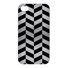 Chevron1 Black Marble & Silver Brushed Metal Apple Iphone 4/4s Premium Hardshell Case by trendistuff