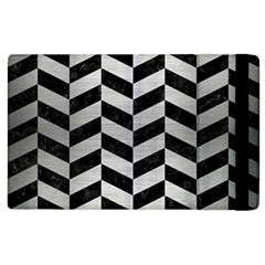 Chevron1 Black Marble & Silver Brushed Metal Apple Ipad 2 Flip Case by trendistuff