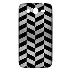 Chevron1 Black Marble & Silver Brushed Metal Samsung Galaxy Mega 5 8 I9152 Hardshell Case  by trendistuff