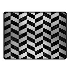Chevron1 Black Marble & Silver Brushed Metal Double Sided Fleece Blanket (small)