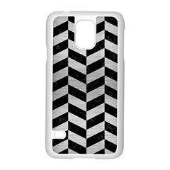 Chevron1 Black Marble & Silver Brushed Metal Samsung Galaxy S5 Case (white) by trendistuff