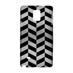 Chevron1 Black Marble & Silver Brushed Metal Samsung Galaxy Note 4 Hardshell Case by trendistuff