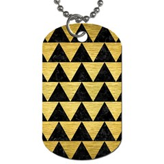 Triangle2 Black Marble & Gold Brushed Metal Dog Tag (two Sides) by trendistuff