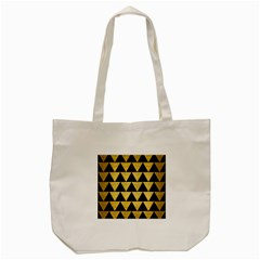 Triangle2 Black Marble & Gold Brushed Metal Tote Bag (cream) by trendistuff