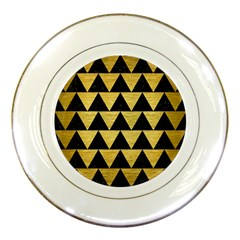 Triangle2 Black Marble & Gold Brushed Metal Porcelain Plate by trendistuff
