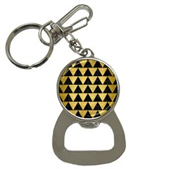 Triangle2 Black Marble & Gold Brushed Metal Bottle Opener Key Chain by trendistuff