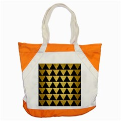 Triangle2 Black Marble & Gold Brushed Metal Accent Tote Bag by trendistuff