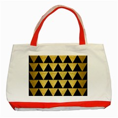Triangle2 Black Marble & Gold Brushed Metal Classic Tote Bag (red) by trendistuff
