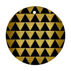 Triangle2 Black Marble & Gold Brushed Metal Round Ornament (two Sides) by trendistuff