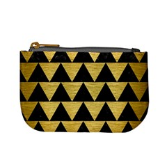 Triangle2 Black Marble & Gold Brushed Metal Mini Coin Purse by trendistuff