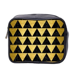 Triangle2 Black Marble & Gold Brushed Metal Mini Toiletries Bag (two Sides) by trendistuff