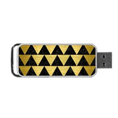 Triangle2 Black Marble & Gold Brushed Metal Portable Usb Flash (one Side)