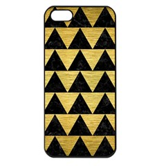 Triangle2 Black Marble & Gold Brushed Metal Apple Iphone 5 Seamless Case (black) by trendistuff