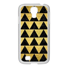 Triangle2 Black Marble & Gold Brushed Metal Samsung Galaxy S4 I9500/ I9505 Case (white) by trendistuff