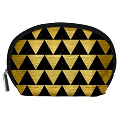 Triangle2 Black Marble & Gold Brushed Metal Accessory Pouch (large) by trendistuff