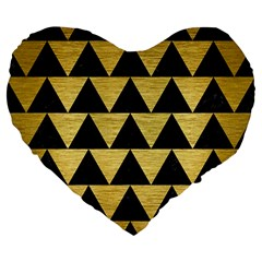 Triangle2 Black Marble & Gold Brushed Metal Large 19  Premium Flano Heart Shape Cushion by trendistuff