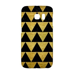 Triangle2 Black Marble & Gold Brushed Metal Samsung Galaxy S6 Edge Hardshell Case by trendistuff
