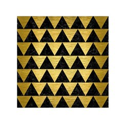 Triangle2 Black Marble & Gold Brushed Metal Small Satin Scarf (square) by trendistuff