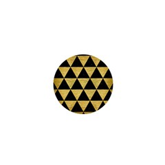 Triangle3 Black Marble & Gold Brushed Metal 1  Mini Magnet by trendistuff